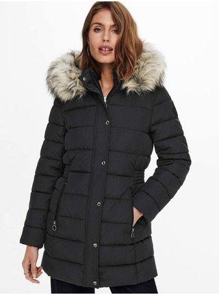 Tmavě šedý dámský prošívaný zimní kabát s kapucí a kožíškem ONLY Luna