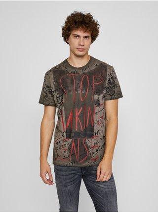 Khaki pánské tričko s potiskem Desigual Nadal