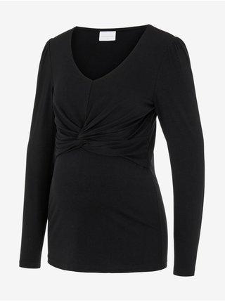Černé těhotenské tričko s řasením Mama.licious Macy