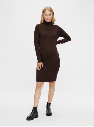 Tmavě hnědé těhotenské svetrové šaty se stojáčkem Mama.licious Jacina