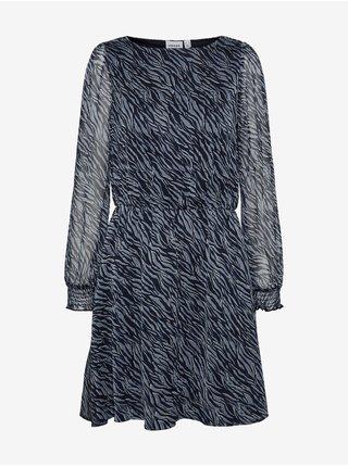 Modré dámské vzorované šaty s transparentními rukávy AWARE by VERO MODA Rylee