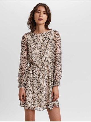 Černo-krémové dámské vzorované šaty s transparentními rukávy AWARE by VERO MODA Rylee