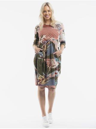 Staroružové dámske vzorované šaty Orientique Lourdes Pink