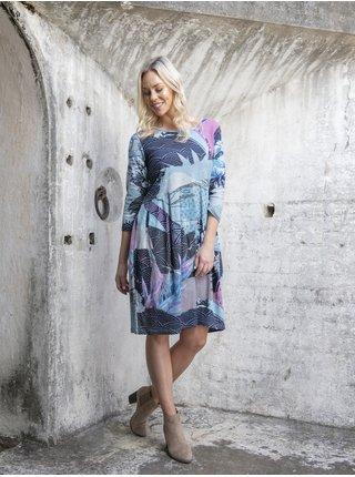 Modré dámske vzorované šaty Orientique Lourdes Blue