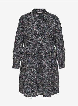 Tmavě šedé květované košilové šaty ONLY CARMAKOMA  Dusty