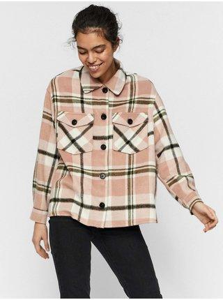 Růžová kostkovaná košilová bunda VERO MODA Autumn