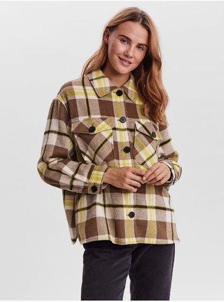 Hnědá kostkovaná košilová bunda VERO MODA Autumn