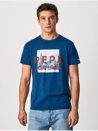 Modré pánské tričko s potiskem Pepe Jeans Randall