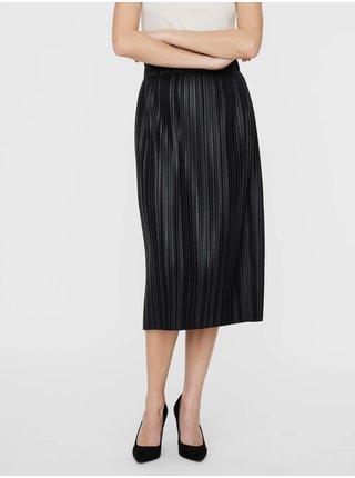 Černá plisovaná koženková midi sukně VERO MODA Fiona