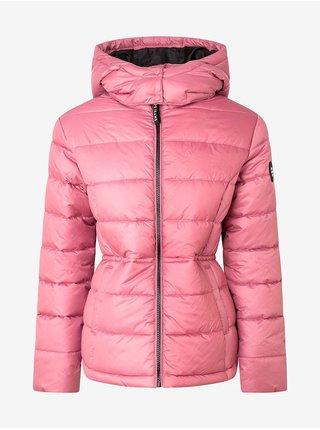 Růžová dámská prošívaná zimní bunda s kapucí Pepe Jeans Camille