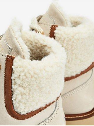 Hnědo-béžové dámské kotníkové kožené boty Tommy Hilfiger Outdoor Flat Boot