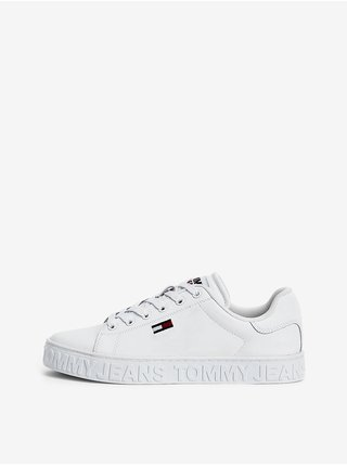 Bílé dámské kožené boty Tommy Hilfiger Cool Jeans Sneaker