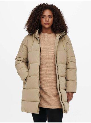 Béžový dámský prošívaný zimní kabát s kapucí ONLY CARMAKOMA Dolly