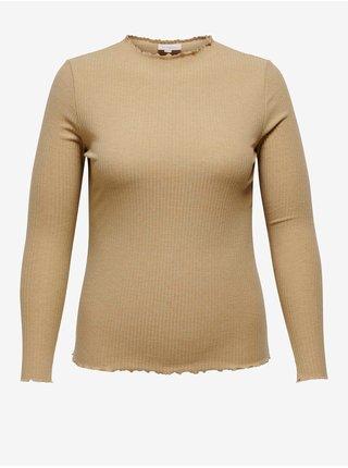 Béžové dámské žebrované tričko ONLY CARMAKOMA Ally