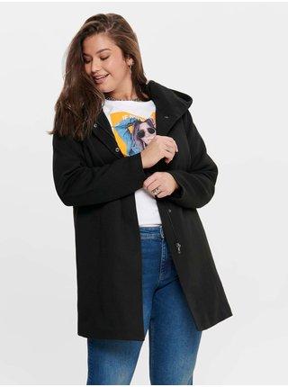 Černý dámský kabát s kapucí ONLY CARMAKOMA Sedona