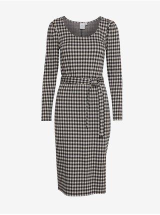 Čierne dámske kockované šaty ICHI
