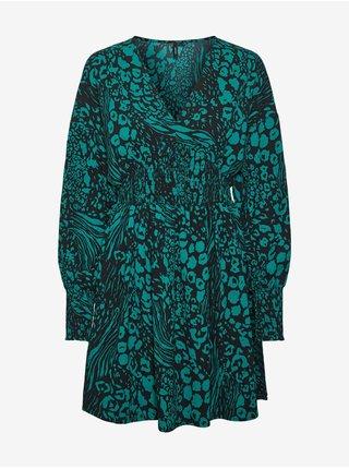 Černo-zelené dámské vzorované šaty s balonovými rukávy VERO MODA Caia