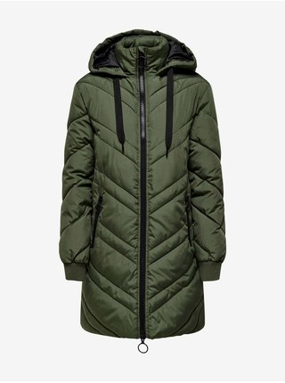 Zelený dámský prošívaný zimní kabát s kapucí Jacqueline de Yong Sky