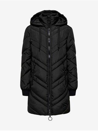 Černý dámský prošívaný zimní kabát s kapucí Jacqueline de Yong Sky