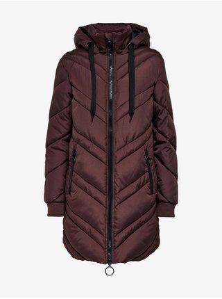 Tmavě hnědý dámský prošívaný zimní kabát s kapucí Jacqueline de Yong Sky
