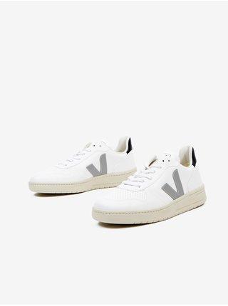 Šedo-bílé pánské kožené boty Veja