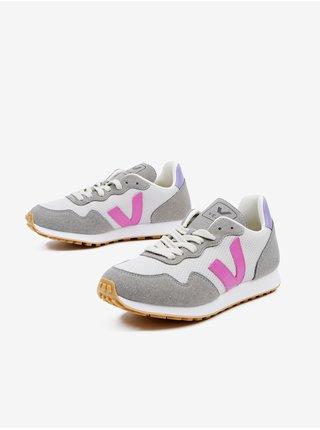 Růžovo-bílo-šedé dámské semišové boty Veja