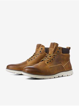 Hnědé kotníkové kožené boty Jack & Jones Tubar