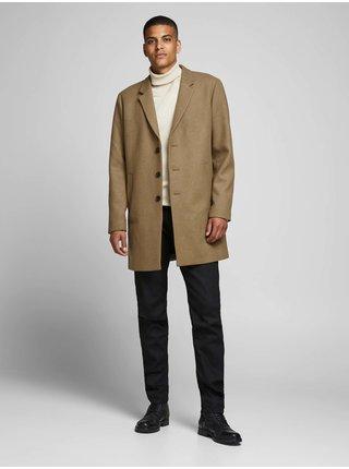 Hnědý kabát s příměsí vlny Jack & Jones Moulder