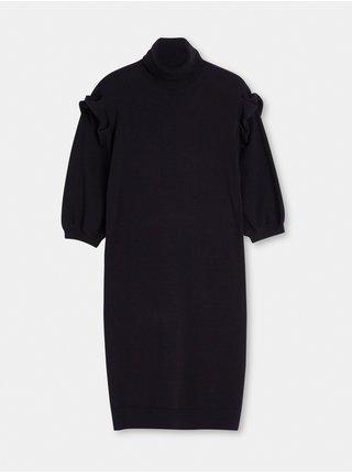 Čierne dámske svetrové šaty s balonovými rukávmi Liu Jo