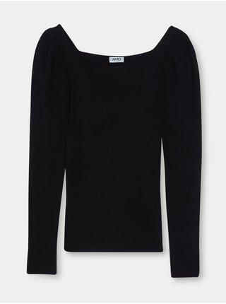 Černé dámské tričko s nařasenými rukávy Liu Jo