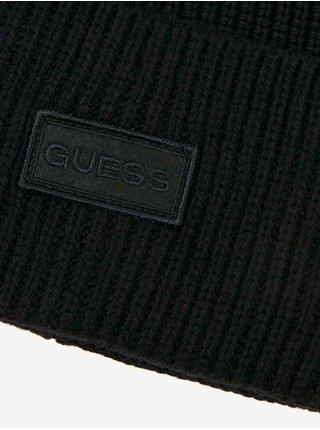 Čierna pánska rebrovaná čiapka Guess