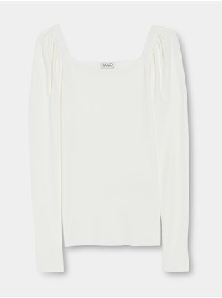 Bílé dámské tričko s nařasenými rukávy Liu Jo