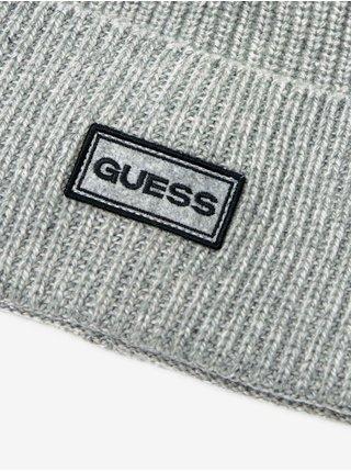 Svetlošedá pánska rebrovaná čiapka Guess