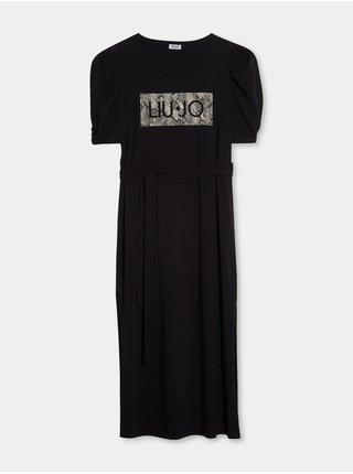 Čierne dámske midi šaty s nariasenými rukávmi Liu Jo