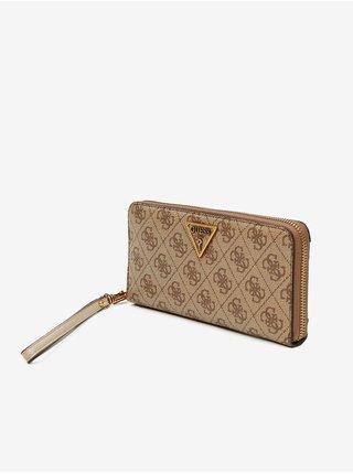 Svetlohnedá dámska vzorovaná peňaženka Guess