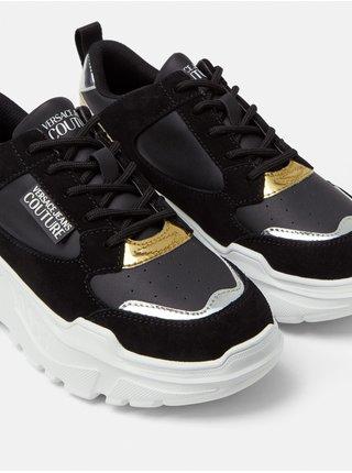 Bielo-čierne dámske kožené tenisky Versace Jeans Couture Fondo Speedtrack