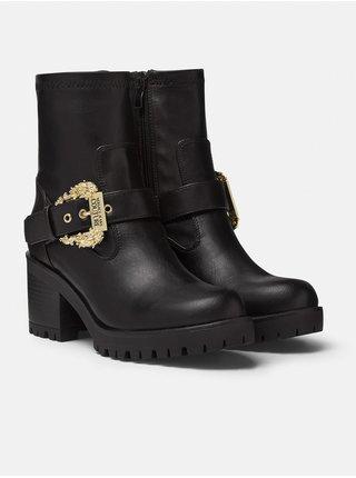 Čierne dámske čižmy na podpätku Versace Jeans Couture Fondo Mia