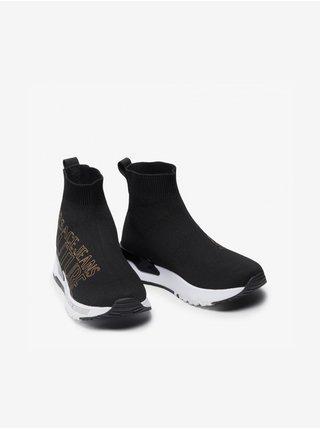 Bílo-černé dámské kotníkové plátěné tenisky s nápisem Versace Jeans Couture Fondo Dynamic