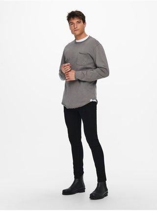 Tričká s dlhým rukávom pre mužov ONLY & SONS - sivá