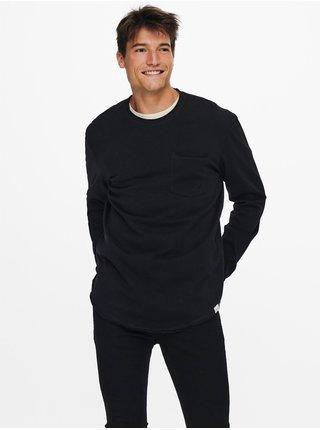 Tričká s dlhým rukávom pre mužov ONLY & SONS - čierna