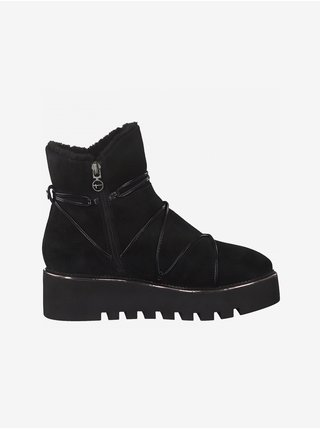 Černé kožené zimní boty Tamaris
