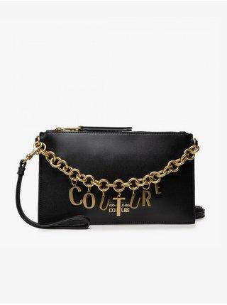 Černá dámská malá crossbody kabelka s ozdobným řetízkem ve zlaté barvě Versace Jeans Couture Charms