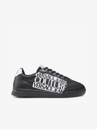 Bílo-černé pánské kožené tenisky s nápisem Versace Jeans Couture Fondo Spinner