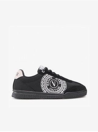 Bílo-černé pánské vzorované kožené tenisky s detaily v semišové úpravě Versace Jeans Couture Fondo Spinner