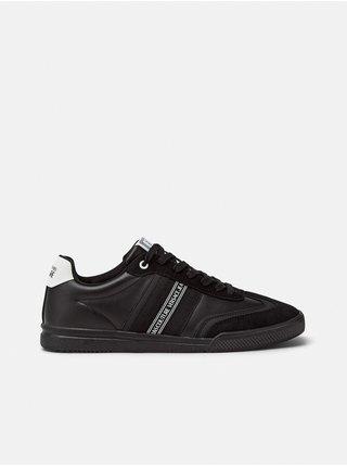 Černé pánské kožené tenisky s detaily v semišové úpravě Versace Jeans Couture Fondo Spinner