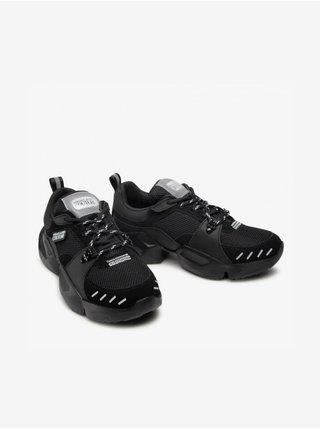 Čierne pánske kožené tenisky s detailmi v semišovej úprave Versace Jeans Couture Fondo Gravity