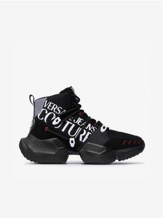 Čierne pánske vzorované členkové kožené tenisky s detailmi v semišovej úprave Versace Jeans Couture Fondo Gravity
