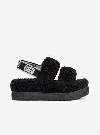 Čierne dámske kožené sandále s kožúškom UGG Oh Fluffita