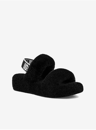 Čierne dámske kožené sandále s kožúškom UGG Oh Yeah