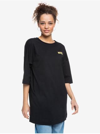 Černé dámské oversize tričko s potiskem Roxy Macrame Hour